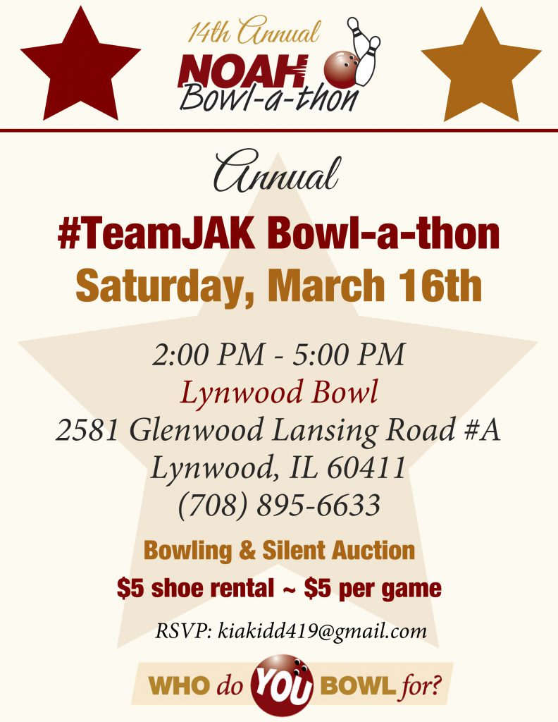 #TeamJAK Bowl-a-thon Flyer