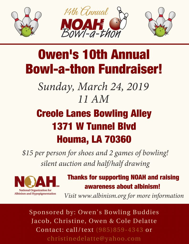 Owen's 10th Annual Bowl-a-thon Flyer