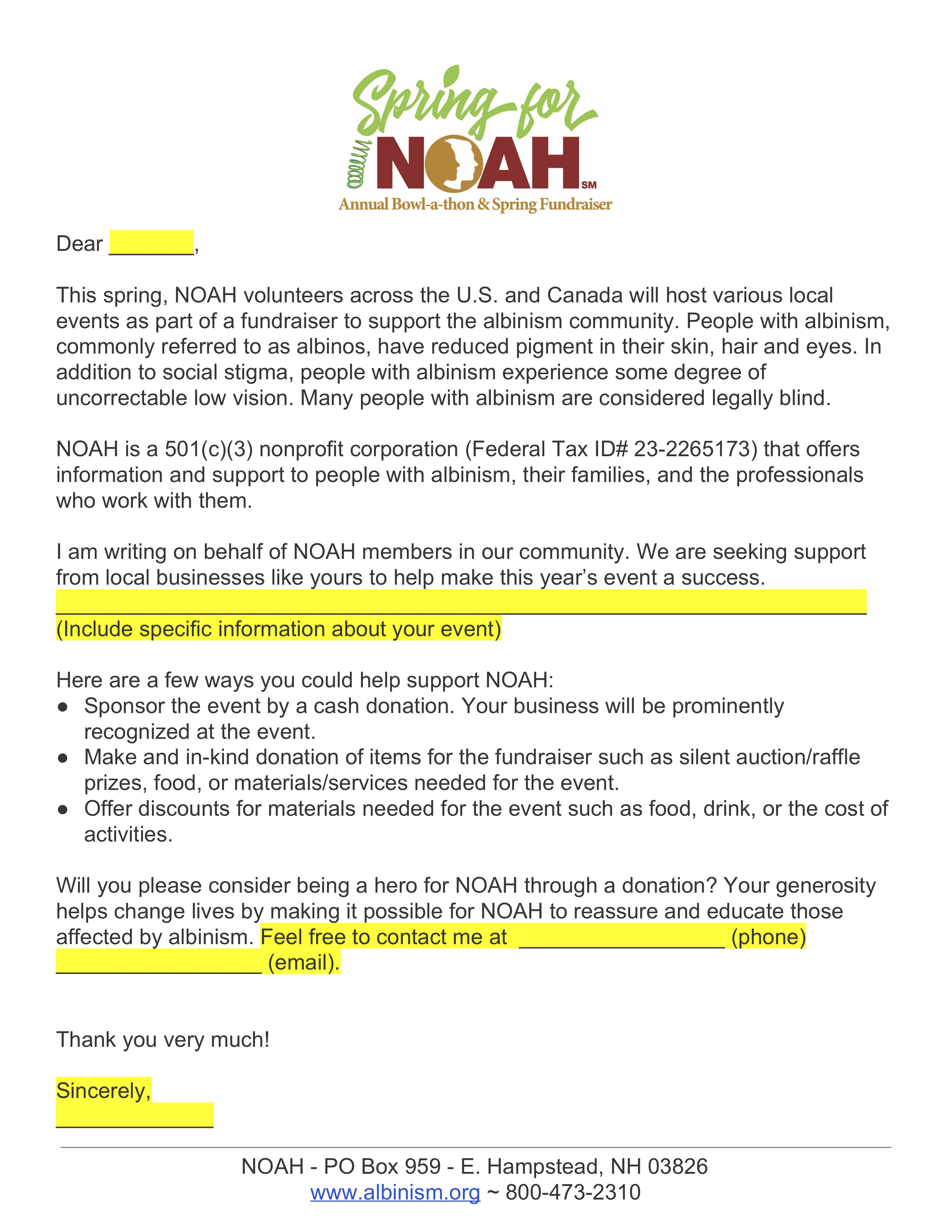 Spring for NOAH Fundraiser Business Solicitation Letter