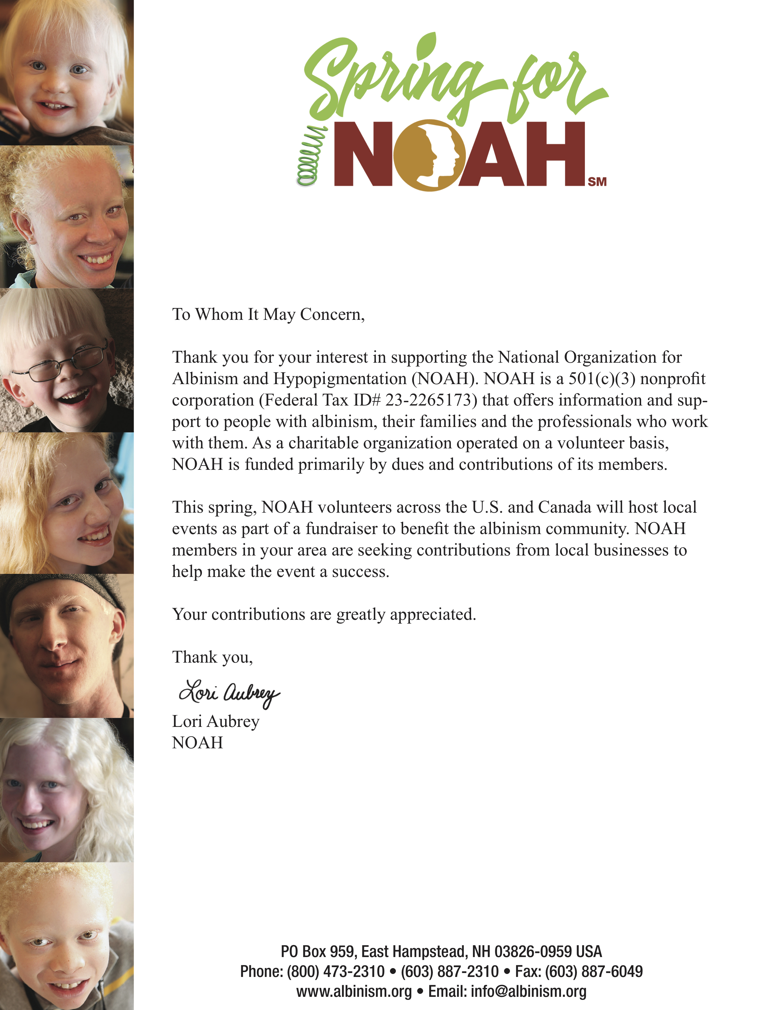 Spring for NOAH Fundraiser Official Verification Solicitation Letter