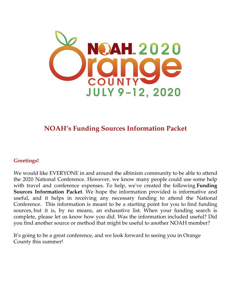 NOAH's Funding Sources Information Packet