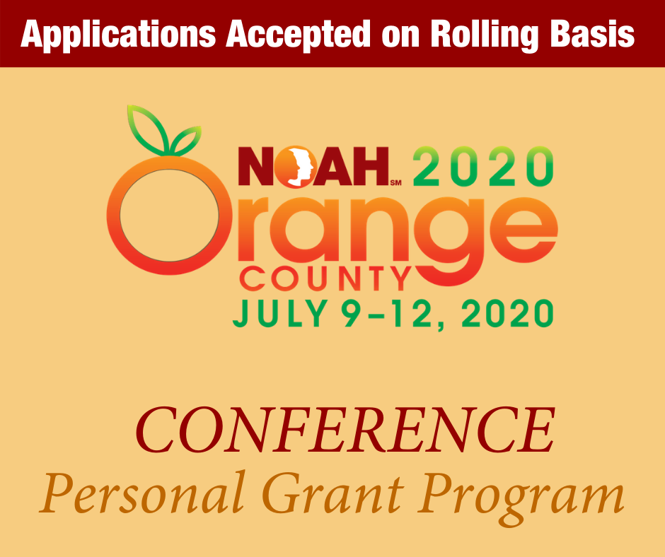 """Text reads: """"Applications Accepted on Rolling Basis - NOAH Conference Personal Grant Program"""""""