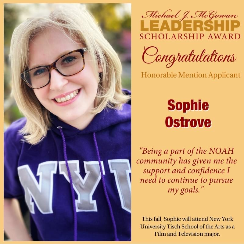 Michael J McGowan Leadership Scholarship Award Congratulations Honorable Mention Applicant Sophie Ostrove